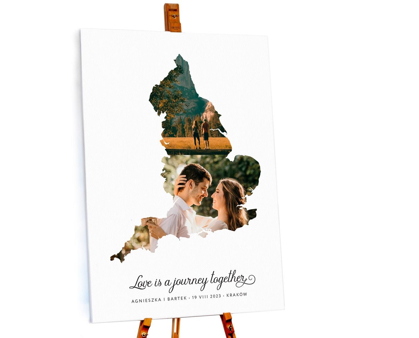 Tablica powitalna ze zdjęciami Młodej pary. Styl podróżniczy