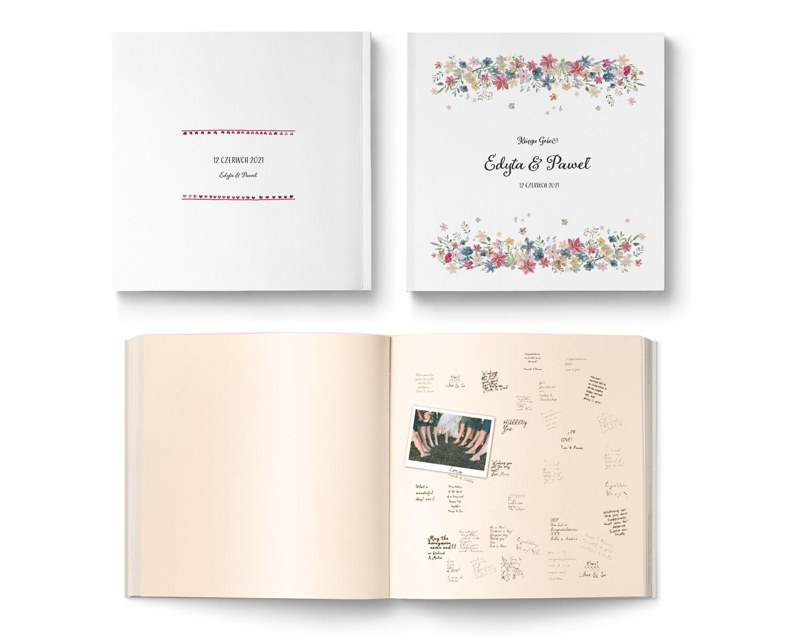 Tradycyjna księga gości, album z białą okładki i kwiatami