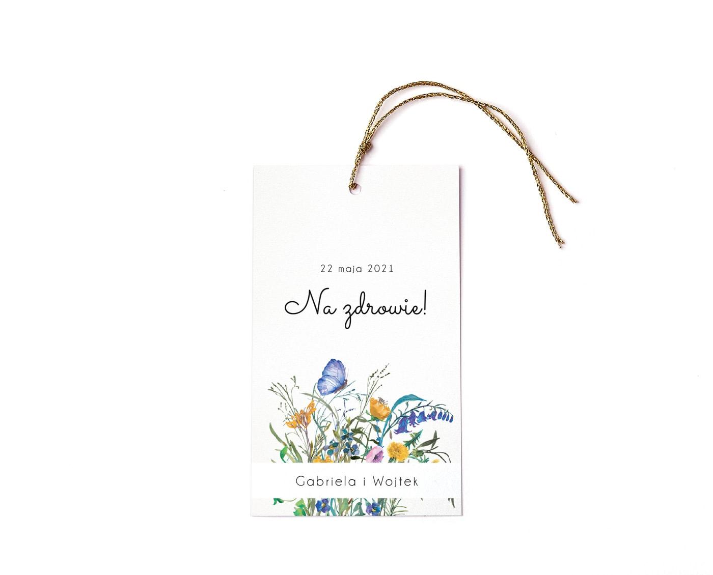 zawieszki ze sznureczkiem i niebiesko żółtymi kwiatami