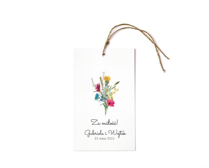 Zawieszki na butelki z bukietem polnych kwiatów