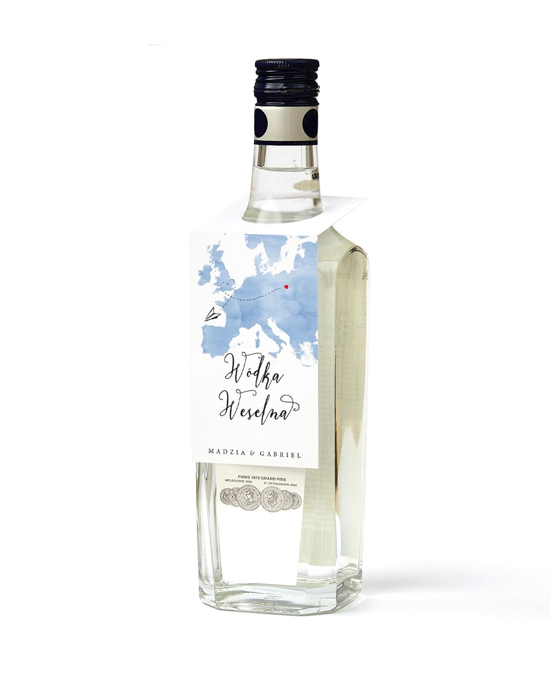 Zawieszki na butelki z alkoholem z samolotem i niebieską mapą