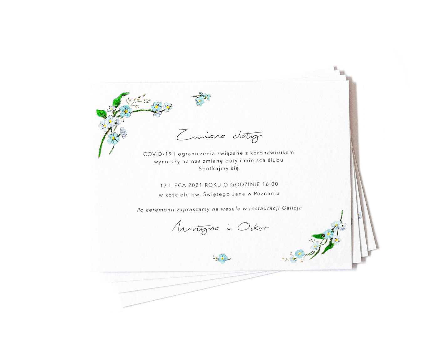 Karteczka z informacją o zmianie daty ślubu z powodu koronawirusa