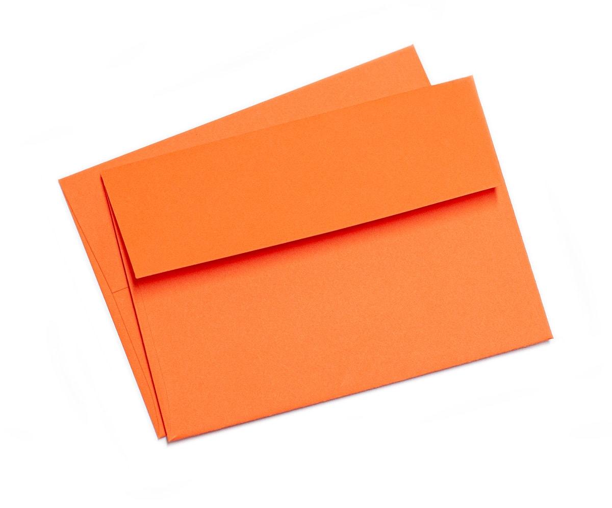 Koperty A7 pomarańczowe z szeroką klapką