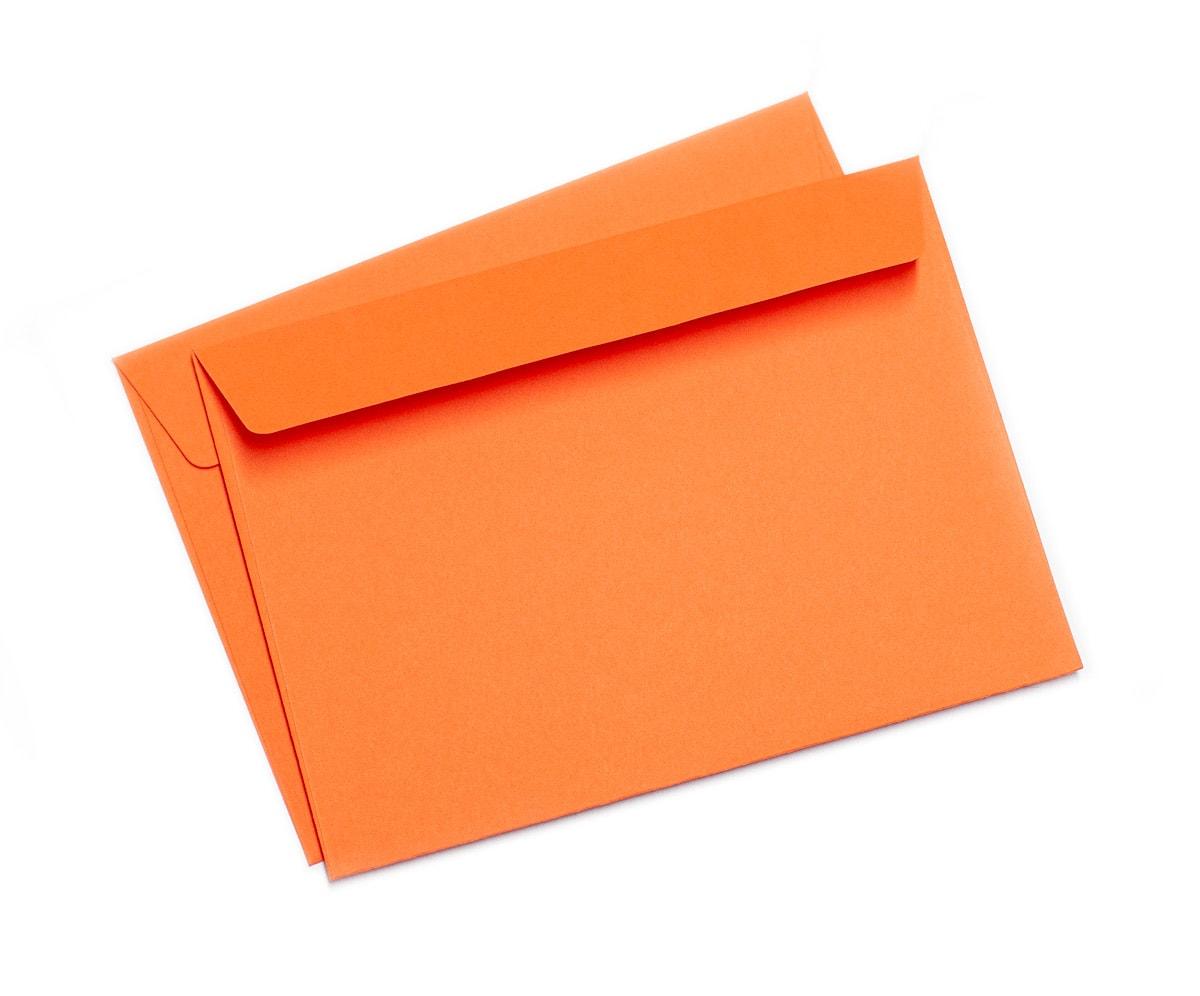 Koperty A7, pomarańczowe z wąską klapką
