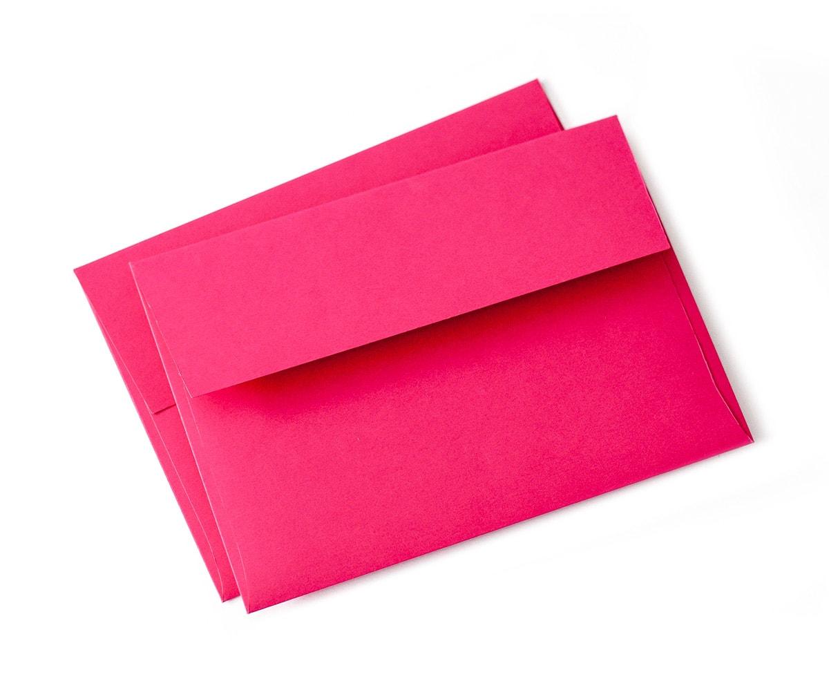 Koperty na zaproszenia w kolorze fuksji, rozmiar A7