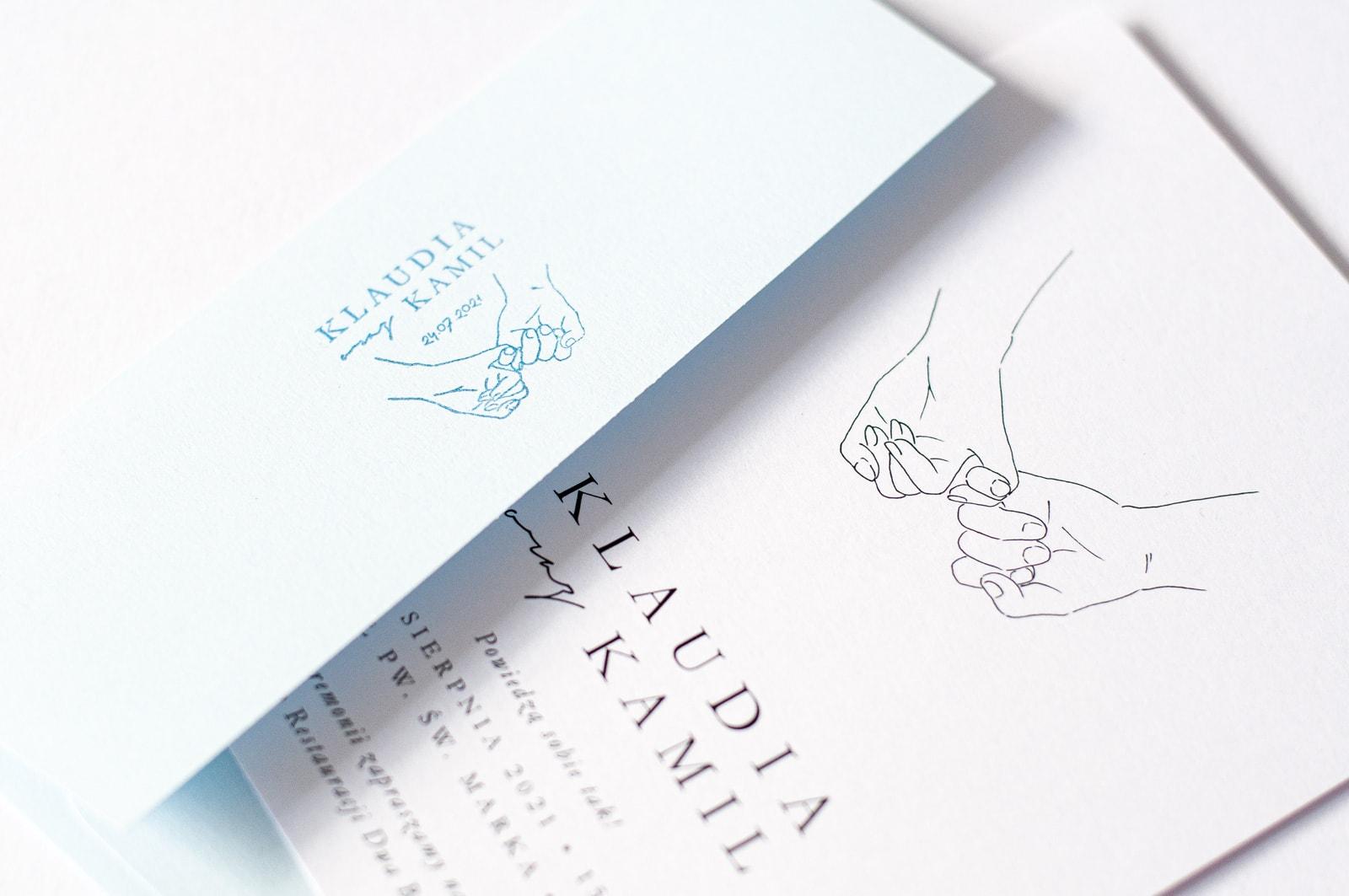 Papeteria ślubna z rysunkiem dłoni Pary Młodej
