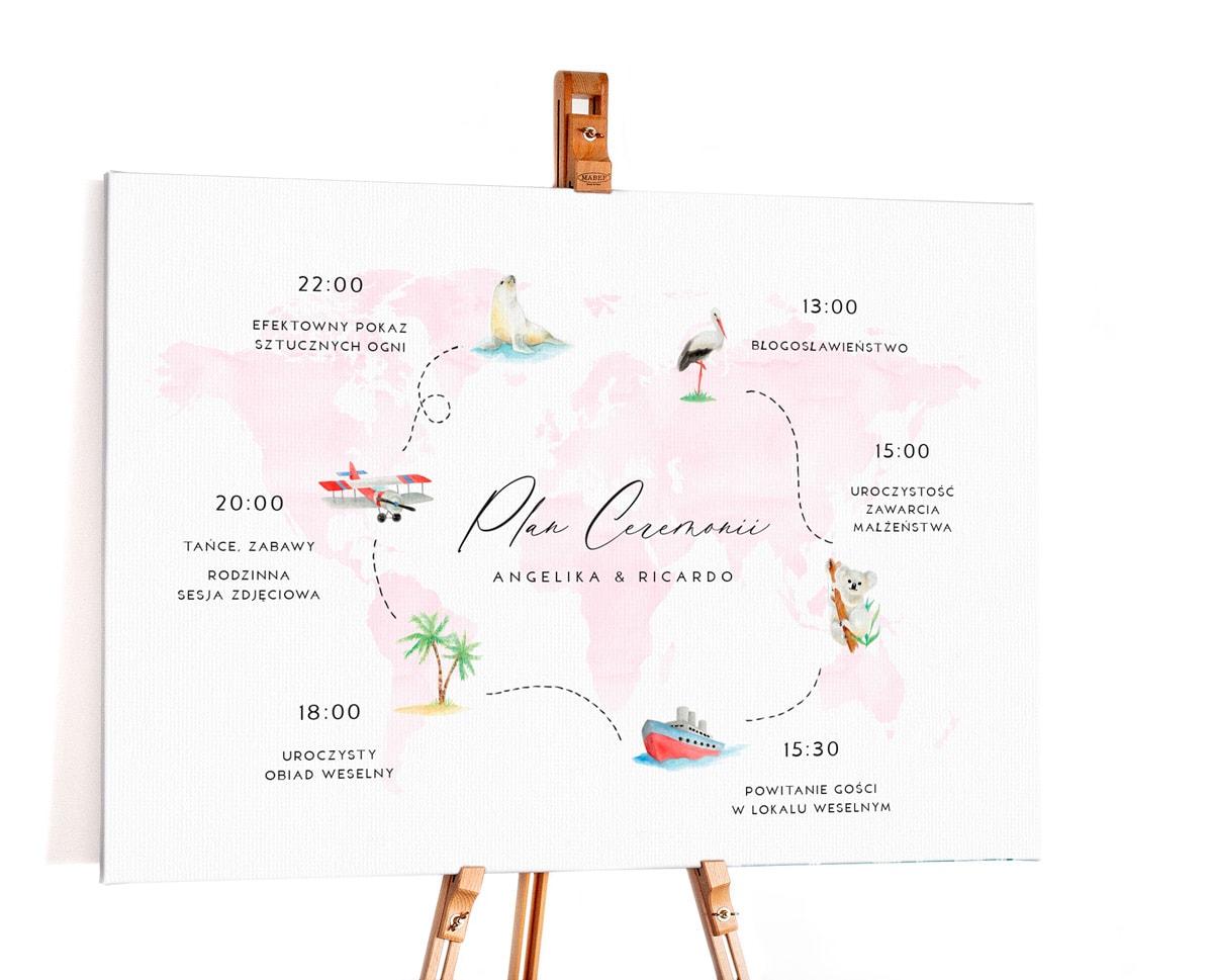 plan ceremonii ślubnej na tablicy, styl podróżniczy