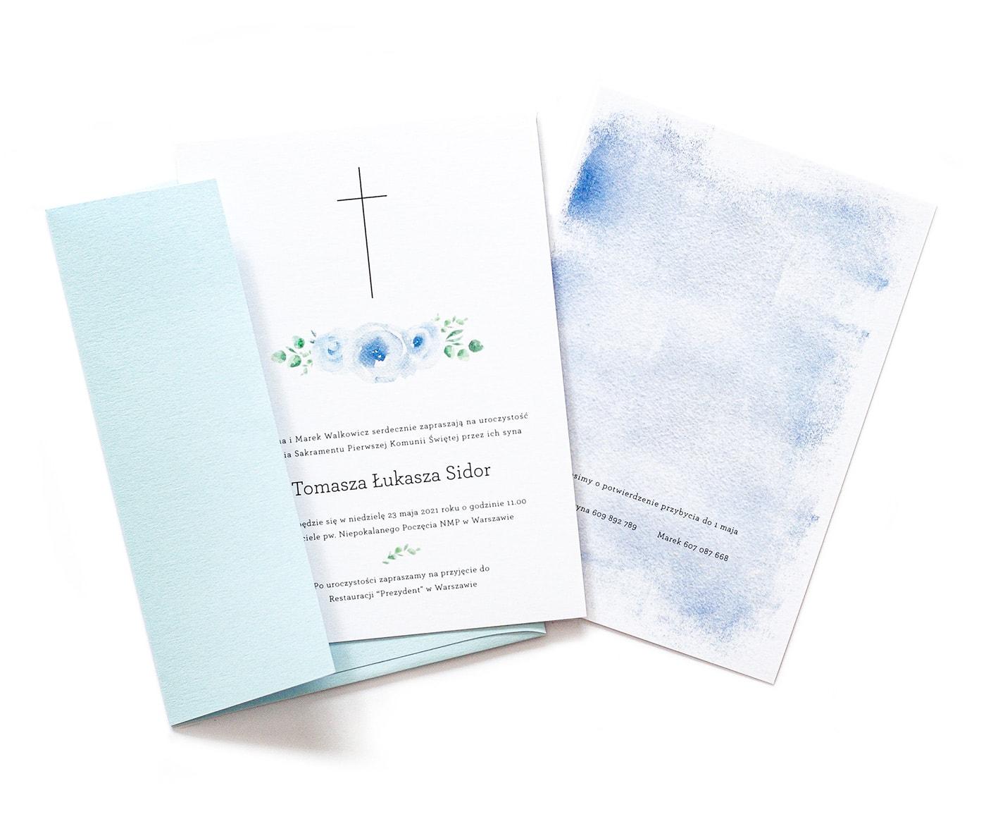 Zaproszenia na komunię świętą dla chłopca, niebieskie z piwoniami