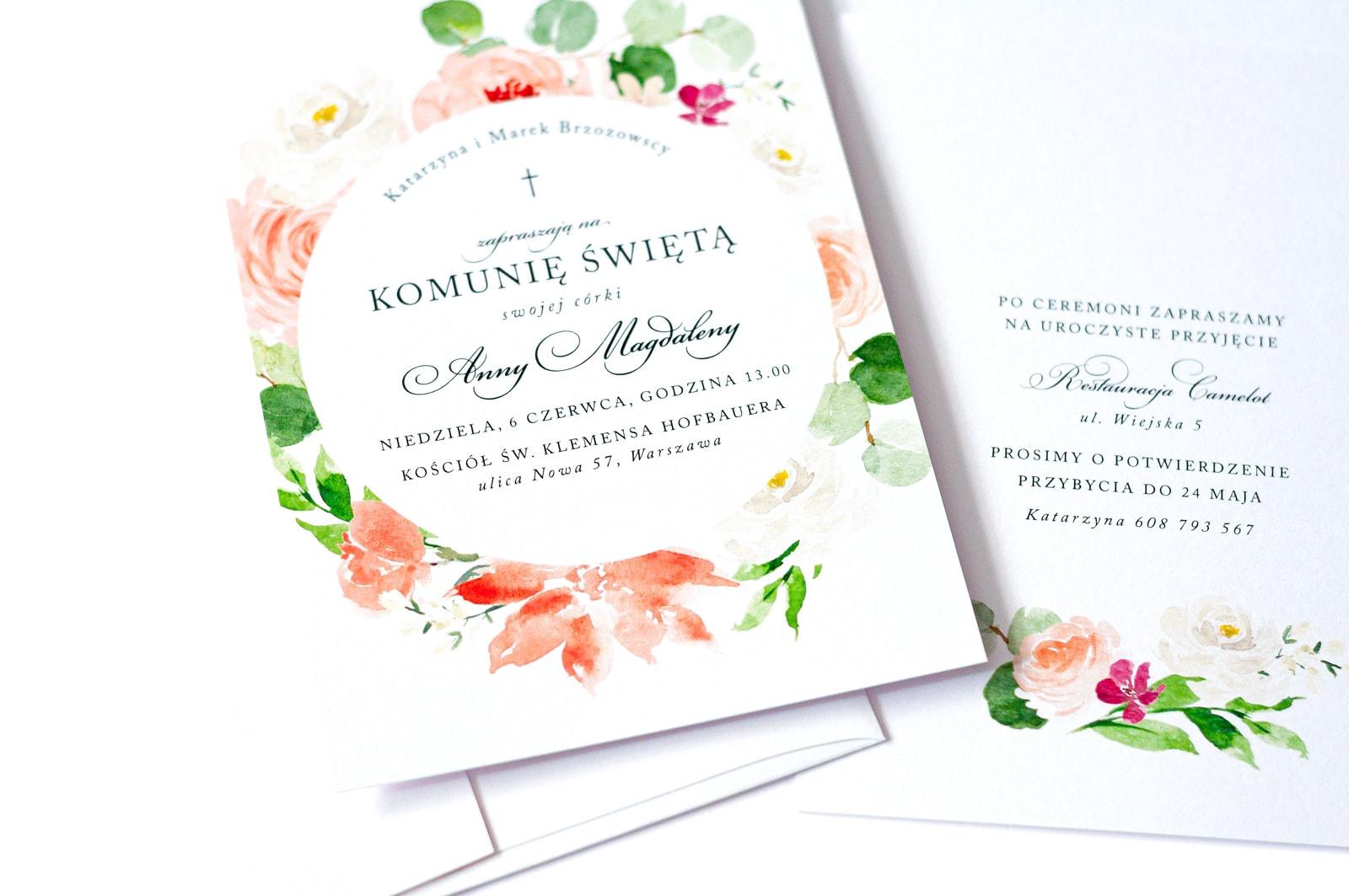Zaproszenia na komunię świętą z akwarelowymi kwiatami