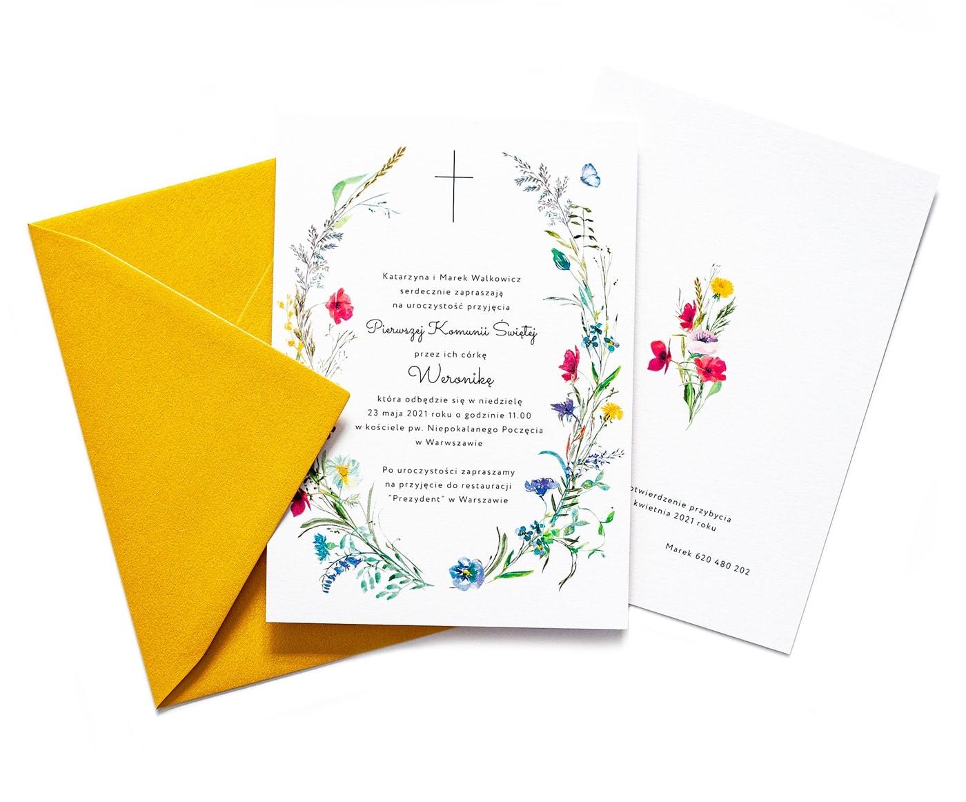 Zaproszenia na komunię świętą z polnymi kwiatami