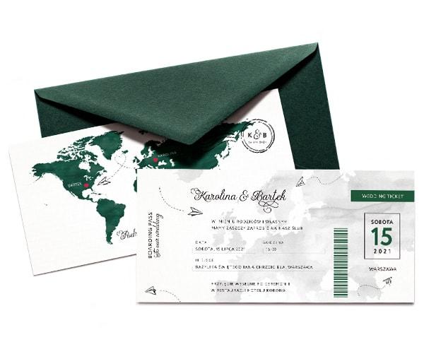 Zaproszenia ślubne bilet lotniczy