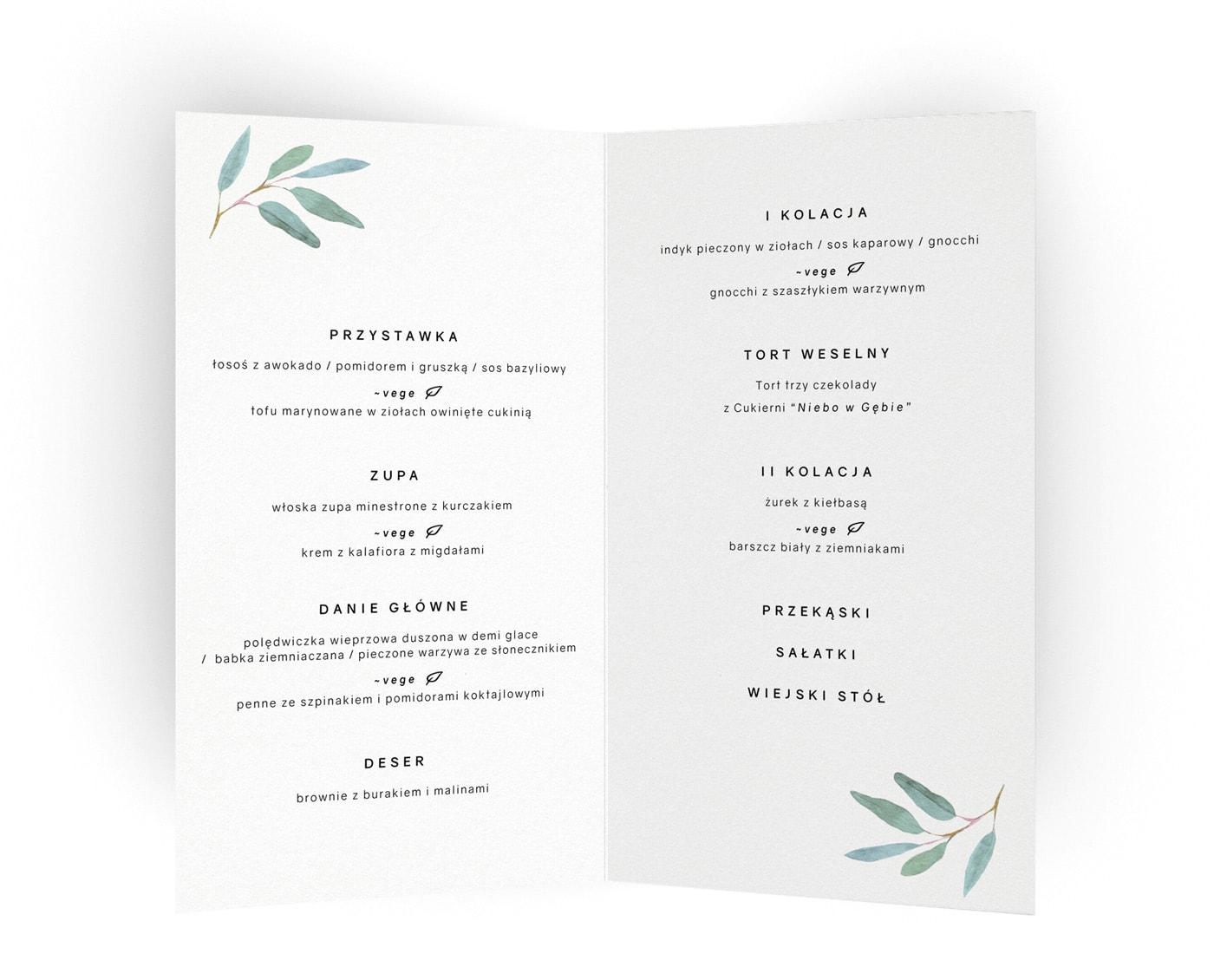 menu do postawienia na stołach weselnych z eukaliptusem