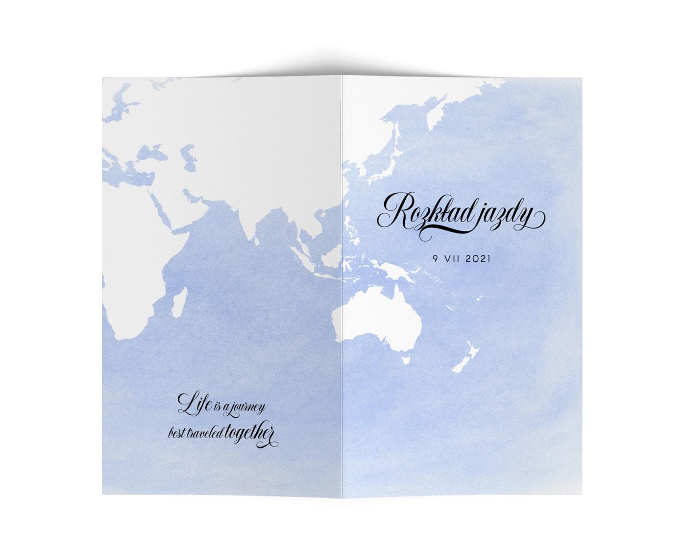Harmonogram ślubu i wesela w stylu podróżniczym z błękitnym tłem i mapą świata