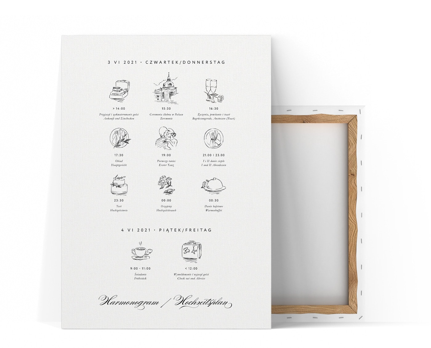 Plan uroczystości weselnej na dużej tablicy