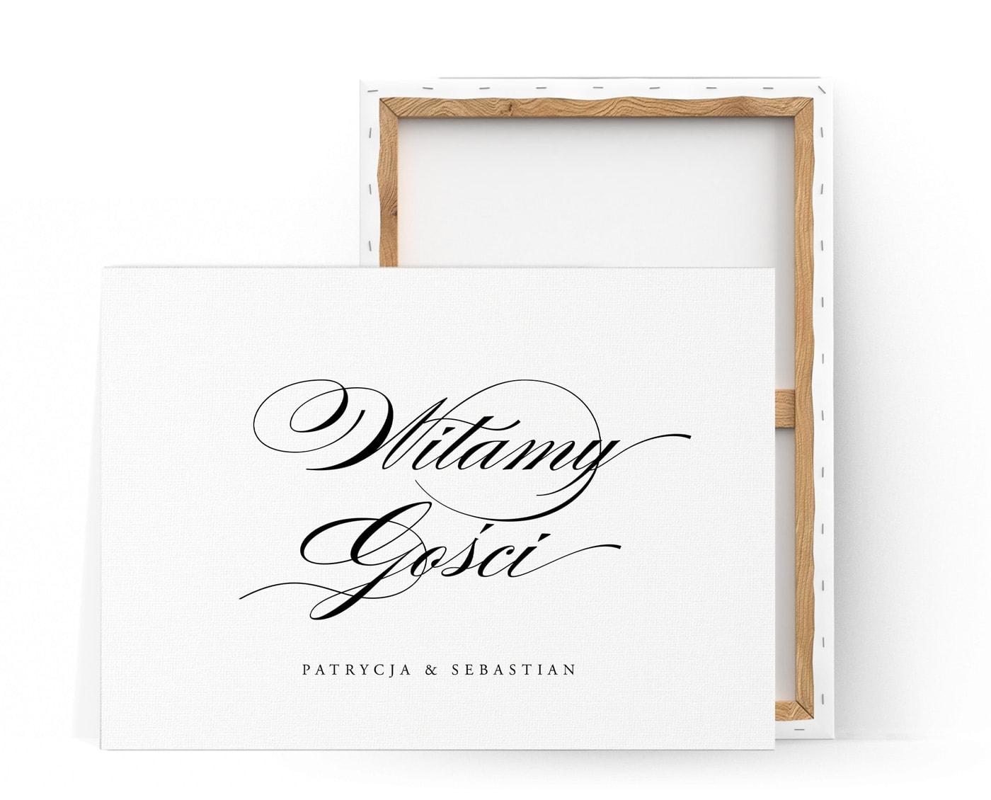 Tablica na powitanie gości weselnych