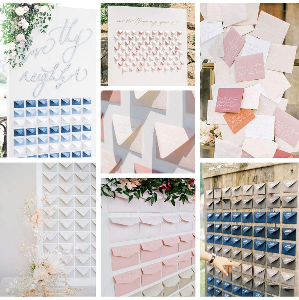 Plan stołów zrobiony z kolorowych kopert