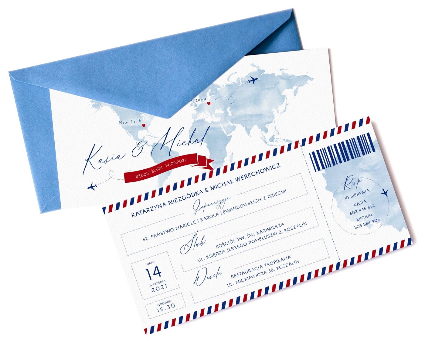 Zaproszenia ślubne w formie biletu na samolot